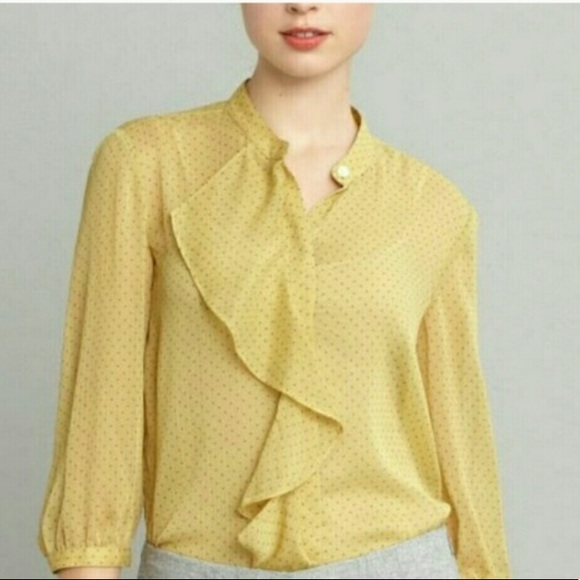 33a46eb2 Banana Republic Tops | Yellow Polka Dot Ruffle Blouse | Poshmark